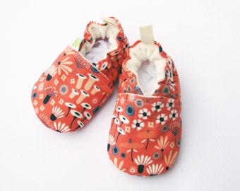 Organic Vegan Wildwood Floral  All Fabric Soft Sole Baby Shoes / Made to Order / Babies Pink