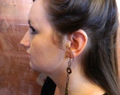 Dangle Earrings with copper disks and pen nibs