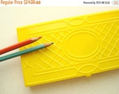 Vintage colored pencils in box, 12 Sunset drawing pencils in yellow plastic case, mid-century collectible art set, embossed pencil box