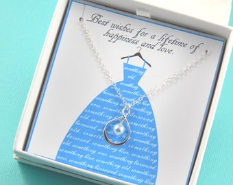 Bride Necklace, Something Blue Necklace, Gift for Bride,Gift Boxed Jewelry,Something Blue Gift, Blue Pearl Necklace,Thank You Gift