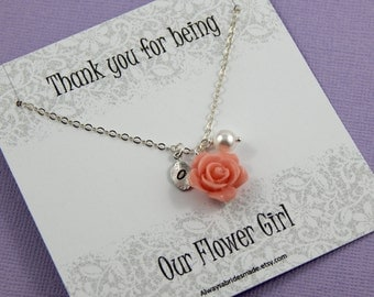Flower Girl Necklace,  Personalized hand stamped leaf,  Our Flower Girl Gift Junior Bridesmaids, Flower Girl Thank You - Gift Boxed Jewelry