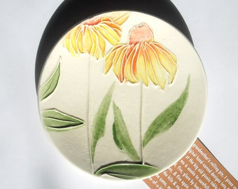 Golden Coneflower Ceramic-Watercolor Wall Hanging sculpture