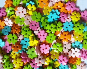 80 pcs Clover Flower Button 10mm Mix Color