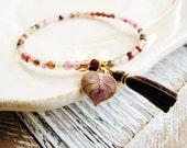 Agate Bracelet, Tassel Bracelet, Stone Bracelet, Pink Bracelet, Minimalist Jewelry, Boho Jewelry, Geology Jewelry