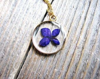 Purple Hydrangea Necklace, Spring Wedding Necklace, Rustic Floral Necklace, Pressed Flowers Necklace, Nature Lovers Botanical Jewelry