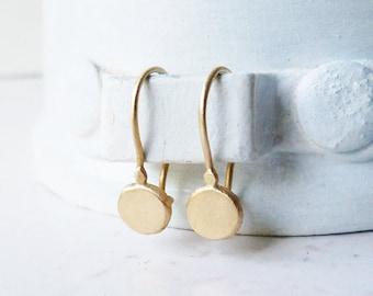 14 Karat Gold Round Earrings / Gold Dangle Earrings / Gold Jewelry / Handmade Earrings / Classic Earrings / Gift For Her / Wedding Gift