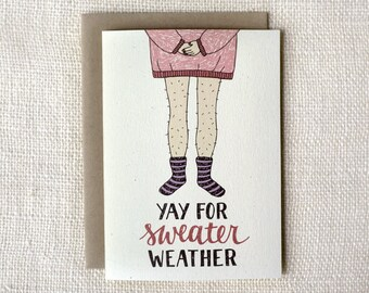 Sale 50% Off - Winter Card, Holiday Card - Sweater Weather