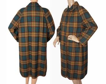 Vintage 1950s Reversible Plaid Wool Raincoat - Aquascutum of London - Ladies - L