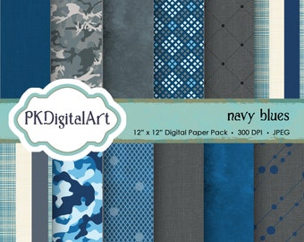 """Military Digital Paper - """"Navy Blues""""  patterns backgrounds, projects, design, scrapbooking"""