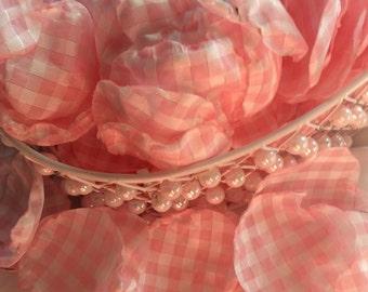 Pink Gingham Taffeta Rose Petals Wedding Flowergirl Runway Satin Silk Fabric Handmade Free Shipping To Lower 48 States