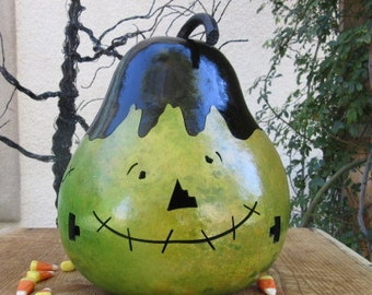 Halloween Gourd Frankenstein Jack O Lantern Primitive Pumpkin Decoration