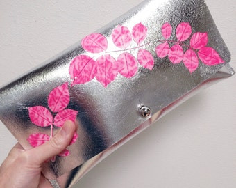 Metallic Silver and Candy Pink Handprinted Leather Clutch Purse
