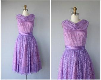 Vintage Lavender Lace Prom Dress | Vintage 1950s Prom Dress | 50s Dress | 1950s Lace Party Dress | 50s Party Dress | 1950s Formal Dress