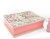 Personalize Pink Floral Jewelry Box - Decoupaged with Vintage Floral patterned paper - Pink Shabby Chic Jewelry Box - Sweet 16