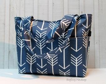 READY To SHIP - Flash SALE 25% off - Navy Arrows Tote Bag /  Diaper Bag /  Medium Bag