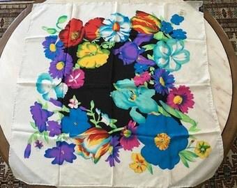 "NWT Vintage Casca Scarves Silk Scarf Floral Loehmans White Big 30 X 30"""