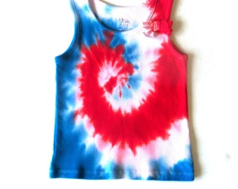 Toddler Girl's Tie-dye Tank Top, 3T, red white & blue