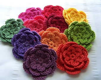 Crocheted flower 3 inch cotton set of 11 rainbow colors
