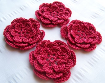 Crocheted flowers motif 2.5 inch applique red set of 4
