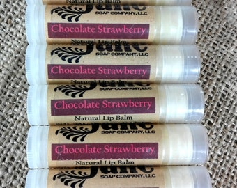 Chocolate Strawberry Lip Balm - All Natural Lip Balm with Cocoa Butter, Castor Oil and Beeswax