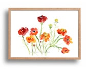 Buttercups art print, Buttercup  watercolor print, Floral art print, buttercups artwork, mothers day, orange, red, yellow, home decor