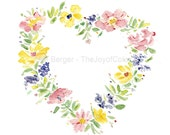 watercolor floral heart, Valentine day, floral wreath painting, heart watercolor, romantic art, floral watercolor, weddings, anniversary