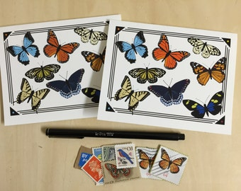 Butterfly Specimen Collage Notecards - Set of 2