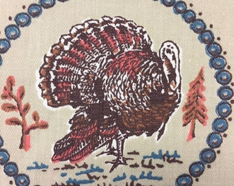 """60's Vintage Cyrus Clark Company """"Turkey Ring""""/ MCM Whimsy /Novelty Print /All Cotton Twill"""