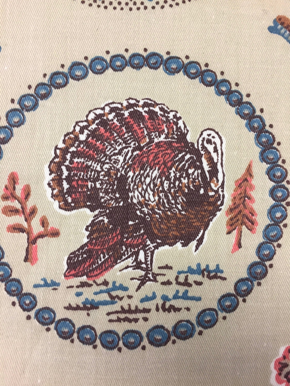 "60's Vintage Cyrus Clark Company ""Turkey Ring""/ MCM Whimsy / Thanksgiving Novelty Print /All Cotton Tweed"
