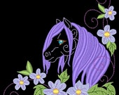 FANTASY FLORAL HORSES #10- 1 Machine Embroidery Design Instant Download 4x4 5x7 6x10 hoop (AzEB)