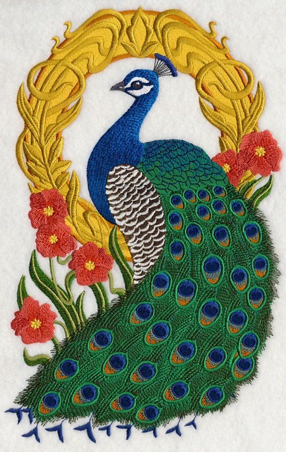 Peacock Cameo Machine Embroidery Quilt Block Azeb