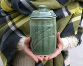 Bulrushes lidded storage jar - forest green handmade stoneware kitchen canister