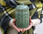 Bulrushes lidded storage jar - forest green handmade stoneware kitchen canister