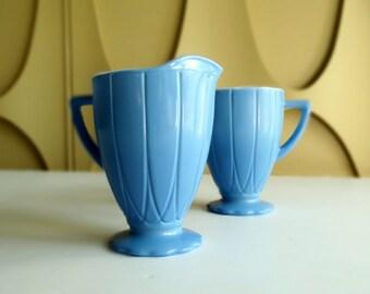Hazel Atlas Moderntone Hairpin Pattern - Cornflower Blue Cream and Sugar Set