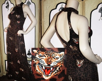 Vintage 60's Leopard Print Leopard Face Cat Dress with Open Back and Chain Belt. Unsurpassed!