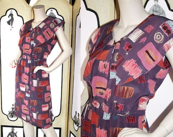 1980's Puritan Collar Novelty Print Summer Dress in Purples and Mauves. Medium to Large.