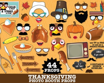 Thanksgiving Photo Booth Props - Thanksgiving Party,Turkey Props,Pilgrim Props,Fall Photo Booth- Instant Download PDF-43 DIY Printable Props
