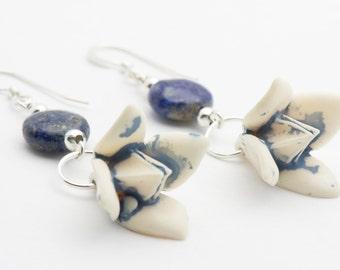 Flower Drop Earrings, Blue, Drop Earrings, Sterling Silver - EAC0015SS