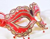 CUSTOM Masquerade Ball Mask - Red Mask - Venetian Mask - Masquerade Mask - Crystal Mask - Rhinestone Mask - Amour