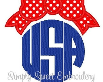 4th of July USA Bow Machine Embroidery Applique Design