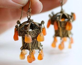 1960s brass filigree chandelier carnelian pierced Middle Eastern earrings / 60s vintage brass and orange agate stones lantern dangles