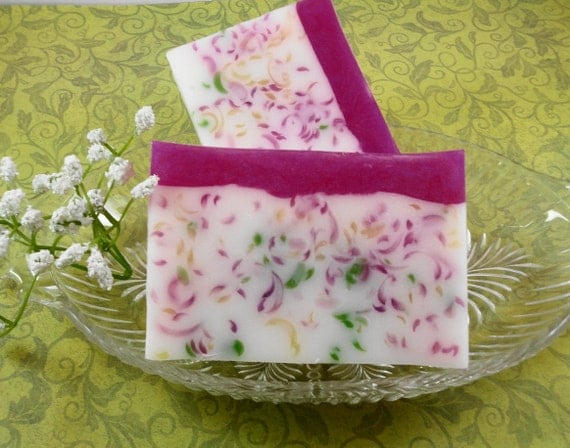 Soap -Pink Peony Paradise Soap Made with Shea Butter - Handcrafted Glycerin Soap - Spring and summer Soap - Wedding Favor - Soap Garden