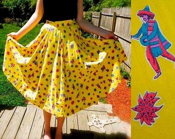 Vintage 40s 50s skirt Novelty Mexicali Musician Print Yellow Cotton Full Swing Skirt S - on sale
