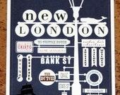 5x7 PRINT New London Lampost Print - Navy Blue