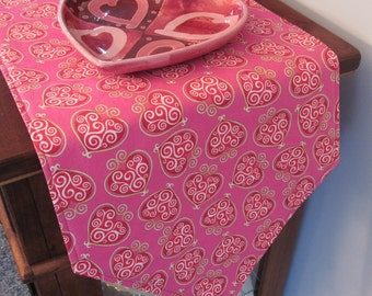 "Pink Valentines 54"" Table Runner Reversible Valentines Day Runner Red Heart Table Runner Pink Table Runner Valentines Day Table Decor"
