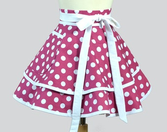Womens Waist Aprons . Cute Flirty Full Retro Ruffled Half Apron Vintage Berry and White Polka Dots Kitchen Cooking or Hostess Womans Apron