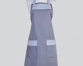 SALE Full Chef Retro Apron / Gray Washable Canvas Fabric Trimmed in Flower Buds Cute Womens Vintage Kitchen Cooking Apron