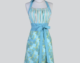 Cute Kitsch Retro Apron - Full Vintage Womens Apron in Modern Teal and Green Floral and Stripes Kitchen Apron Cute Apron Chef Apron