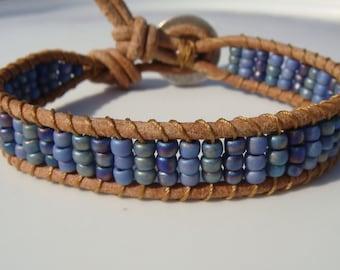 Blue and Lavender Beaded Leather Bracelet