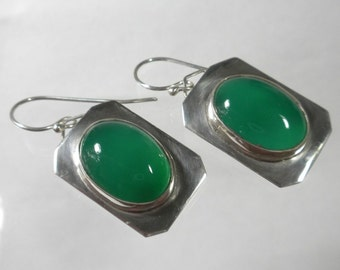 Green Stone Earrings, Sterling Silver Designer Earrings, Green Onyx Earrings